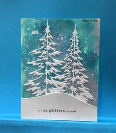 Glittery snow by jandjccc - Cards and Paper Crafts at Splitcoaststampers - – Homemade Cards, Rubber Stamp Art, & Paper Crafts – Splitcoaststamper… - Christmas Paper Crafts, Homemade Christmas Cards, Christmas Art, Handmade Christmas, Homemade Cards, Xmas Cards Handmade, Snow Crafts, Diy Holiday Cards, Christmas Movies
