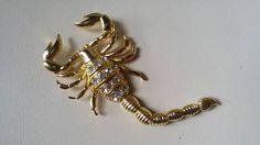 Scorpion brooch gold and rhinestone / 1980 , 1990 / costume jewelry / cardigan sweater / scorpio / zodiac Jim Moriarty, Penny Dreadful, Scorpio Zodiac, Scorpion, Cool Items, Etsy Vintage, Costume Jewelry, Vintage Jewelry, Vintage Outfits
