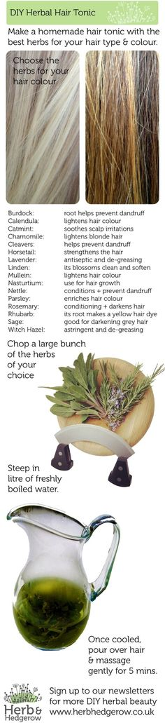 9. #Herbal Hair Tonic - 32 #Homemade Hair Products for #Luscious Locks… #Shampoo