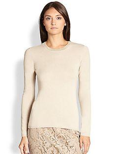 Burberry London Metallic Trim Cashmere Sweater