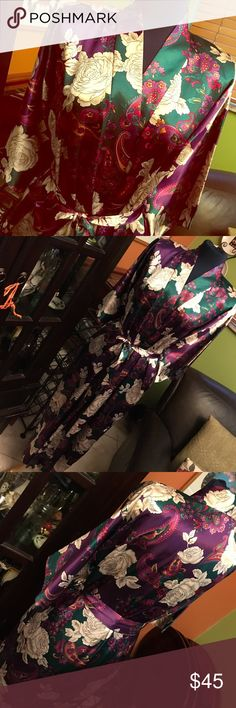 Asian inspired retro kimono robe Lounge in the lap of luxury in this fab robe!! Also good for spending an evening with those two special gentlemen...Ben and Jerry! Either way, you will be sure to look your best! California Dynasty Intimates & Sleepwear Robes