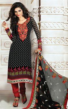 Picture of Marvelous Black Fashion Desiner Salwar Suit Online