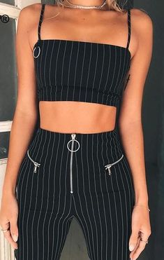 CWLSP Black Striped Two Piece Set Summer High Waist Overalls for women Crop Top and Pants with Zipper conjunto feminino Mode Outfits, Trendy Outfits, Summer Outfits, Fashion Outfits, Korean Outfits, Disco Outfits, Cute Party Outfits, Look 80s, Textiles Y Moda