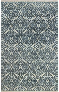 Bashian Rugs: H110- HR105 AZURE handmade area rug with a vintage pattern woven in fine hand-spun wool. Soft, subdued tones combined with a weathered, lived in finish, create a beautiful antique look.