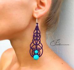 Dark Purple Macrame earrings Silver beads Colored earrings Stone earrings Turquoise earrings Long earrings Gift for women Macrame Earrings, Soutache Jewelry, Macrame Jewelry, Turquoise Earrings, Stone Earrings, Silver Earrings, Jewlery, Silver Beads, Crystal Beads
