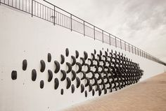 """The team of artists from CÚMUL, have installed a recycled tire art installation, as part of the """"Cultura en la calle"""" festival in Rivas-Vaciamadrid, Spain."""