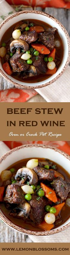 Beef Stew in Red Wine Sauce, tender beef cubes cooked in red wine with onions, garlic, carrots, mushrooms, peas, thyme and bay leaves. The result is a thick, rich, flavorful and out of this world delicious stew. You can cook it in the oven or in the crock