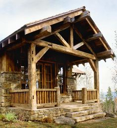 Cozy porch on the tiny log cabin