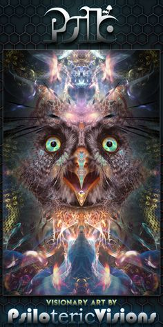 Psychedelic tripping owl POSTERS available. This owl is experiencing complete awareness! Art Fractal, Fractals, Psychedelic Art, Trippy Tapestry, Art Visionnaire, Owl Canvas, Canvas Prints, Eyes Artwork, Vision Art