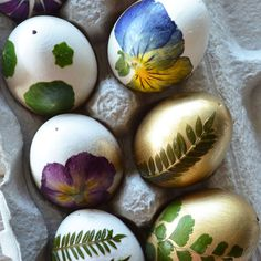 Add the ultimate springtime style to your Easter eggs with pressed flowers and foliage