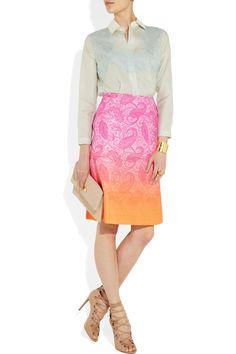 Jonathan Saunders|Ebury degradé jacquard skirt|NET-A-PORTER.COM