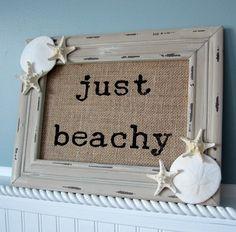"Beach decor signs, nautical decor ""Just Beachy"" sign, seashell and starfish coastal decor sign, $27. https://www.beachgrasscottage.com/"