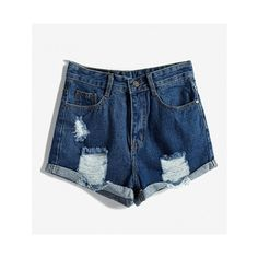 Distressed Denim Shorts With Cuffed Hem ($21) ❤ liked on Polyvore featuring shorts, jersey shorts, distressed denim shorts, high waisted cuffed shorts, high-waisted shorts and high-rise shorts