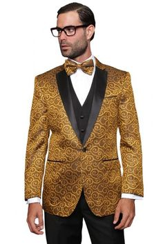 Champagne Sharkskin Shawl Lapel Tuxedo Suit | Warehouse Suit Sale ...