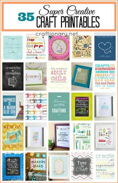 35 Free Best Craft Printables is part of crafts Room Printables - Free best craft printables for decorating crafts room or creative space Free printables for crafting and making handmade things Craft prints for wall art Creative Crafts, Fun Crafts, Diy And Crafts, Project Life, Printable Art, Free Printables, Journaling, Decoupage, Craft Room Decor