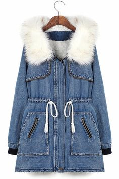 Drawstring Hooded Denim Coat - OASAP.com
