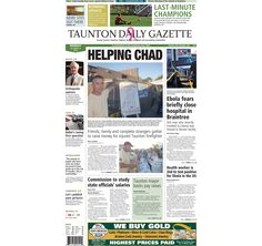 The front page of the Taunton Daily Gazette for Monday, Oct. 13, 2014.
