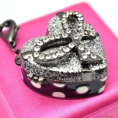 Betsey Johnson Chunky Spotty Heart Cake Secret Locket Necklace