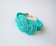 teal (though I would call it turquoise) nautical cord bracelet | Etsy - pardes israel $52
