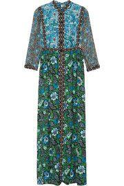 Printed crinkled silk-chiffon and twill maxi dress