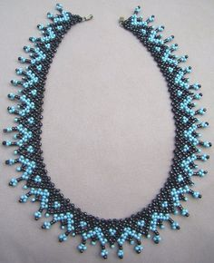 Beaded Necklace Patterns, Lace Necklace, Beaded Statement Necklace, Seed Bead Necklace, Fancy Jewellery, Bead Jewellery, Handmade Beads, Handmade Jewelry, Collar Redondo