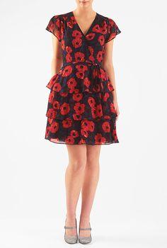 lengthen to knee or just below knee    Floral print tiered georgette dress from eShakti