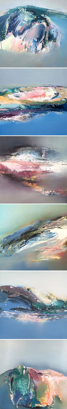 Oh. My. I would love to spend a week or two vacationing in these abstract landscapes by UK based painter Elaine Jones. Not only is her work beautiful, so is both Elaine's inspiration and her process…