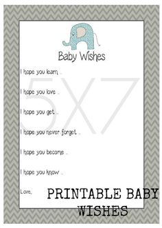 INSTANT BABY WISHES Printable File Baby Shower by TwoLaughingLambs, $3.00