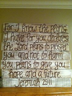 Jeremiah 29:11    white washed with brown font    APPROXIMATE size in inches: 20x20     Each pallet is made with care. Every piece is unique and