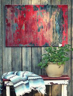 VENDU rouge Texture abstraite acrylique par AmyNealArtStudio