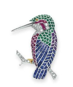 A DIAMOND AND MULTI-GEM BIRD BROOCH  Designed as a calibré-cut ruby, sapphire, emerald and amethyst bird, with single-cut diamond detail, mounted in platinum and gold