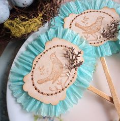 Love Bird. Twelve Cupcake or Appetizer Toppers with Birds and Robins Egg Blue Ruffles - Could use mermaid stamp and make mermaid ones. With coral?