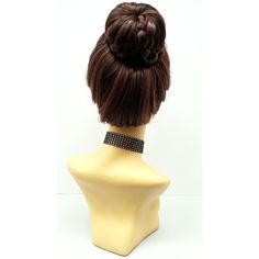 Dark Brown & Auburn Braided Bun Heat Resistant Wig Updo Wig Petite... ($50) ❤ liked on Polyvore featuring beauty products, haircare and hair styling tools