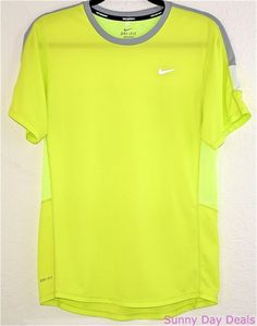 Nike Shirt Racer Running DriFit Neon Yellow Short Sleeve Crew Mens Athletic S  #Nike #ShirtsTops