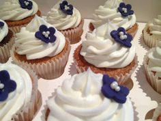 white and navy cupcakes