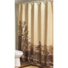 Woodlands Fabric Bathroom Shower Curtain Deer Moose Lodge