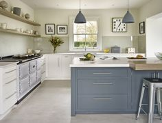 This carefully designed painted kitchen achieves a harmony with the garden and the field outside and the house itself which is how our client directed us. Kitchen Furniture, Kitchen Interior, Kitchen Design, Kitchen Units, Kitchen Cabinets, Cupboards, Kitchen Ideas, Classic Kitchen Paint, Contemporary Classic