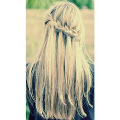 Waterfall Braid ❤ liked on Polyvore featuring hair, hair style, cabelo and hairstyles