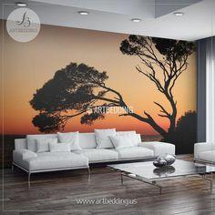 Sunset Tree Silhouettes Wall Mural, Self Adhesive Peel