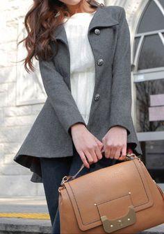 Asymmetric Fit-and-flare Blazer - Grey