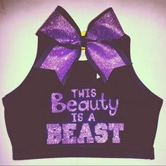 This Beauty Is A Beast Sports Bra with Matching Bow. $37.00, via Etsy. Cheer Sports Bras, Sport Bras, Cheer Bows, Cheerleading Outfits, Cheer Outfits, Dance Outfits, Cheerleader Quotes, Cheer Practice Outfits, Cheerleading Crafts
