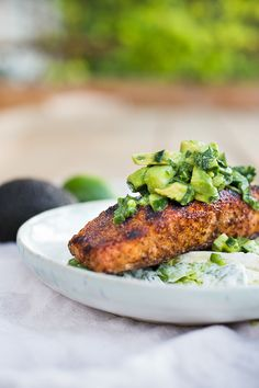 Grilled Salmon Salad w/ Avocado Salsa