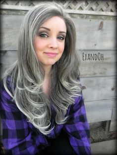 Image result for growing out grey hair with highlights