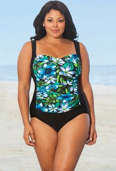 d2b3e590933 Delta Burke Blue Kokimo Twist Front Swimsuit Swimsuits For All