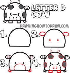 how to draw cartoon cows from uppercase letter D shape