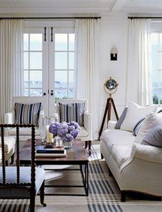 interior, hampton style, living rooms, rug, blue, beach houses, white, live room, nantucket style