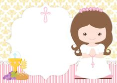 Convites de primeira comunhão: ideias e fotos First Communion Dresses, First Holy Communion, Best Candy Bar, First Communion Decorations, Cupcake Toppers Free, Kids Labels, Communion Invitations, Giant Paper Flowers, Digital Stamps