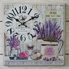 Shabby Vintage Chic Style Cream Box Print Home sweet Home Lavender Wall Clock. Vintage Box, Shabby Vintage, Shabby Chic, Clock Art, Diy Clock, Wall Clock With Pictures, Arte Pallet, Pallet Wall Hangings, Lavender Walls