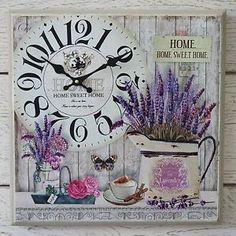Detalles de De Madera Reloj de pared de lavanda francesa Vintage Box Lona…