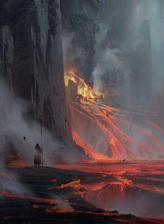 Lava by Ruxing Gao (Fantasy Art Watch) Fantasy Art Landscapes, Fantasy Landscape, Landscape Art, Fantasy Concept Art, Fantasy Artwork, Environment Concept Art, Environment Design, High Fantasy, Fantasy World